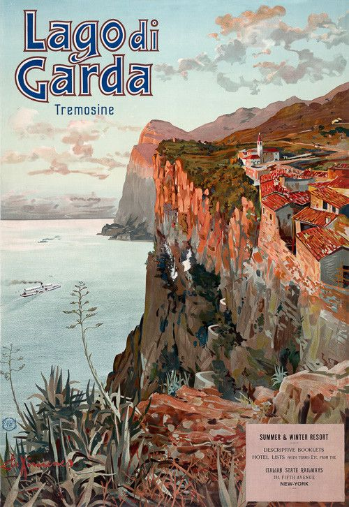 "Lago di Garda, Tremosine. Vintage Italian travel poster for the Tremosine community on a bluff overlooking Lake Garda. Illustrated by Elio Ximenes, circa 1920s. ""Summer & winter resort. Descriptive booklets. Hotel lists (with terms) etc, from the Italian State Railways. 281 Fifth Avenue. New York."""