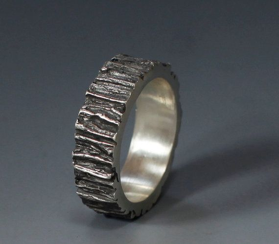 Men's Tree Trunk ring sterling silver 7mm