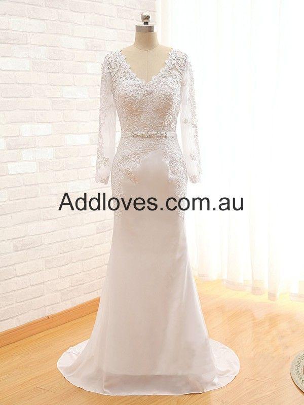 Mermaid/Trumpet V-Neck Long-Sleeve Lace Wedding Dresses