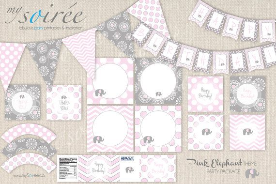 PINK ELEPHANT Theme PRINTABLE Party Package www.mySoiree.ca