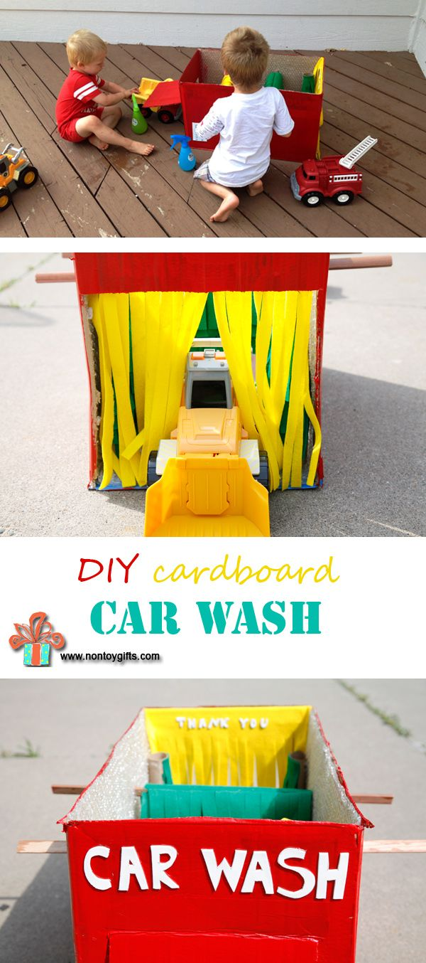Cardboard box into a toy for toddlers and preschoolers. Boys love washing their cars at the cardboard car wash. DIY cardboard toy to make for kids.