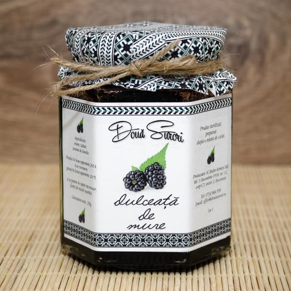 Blackberry Jam DOUA SURORI 210g It is a product made according to traditional recipes from the Ceahlau Mountains.