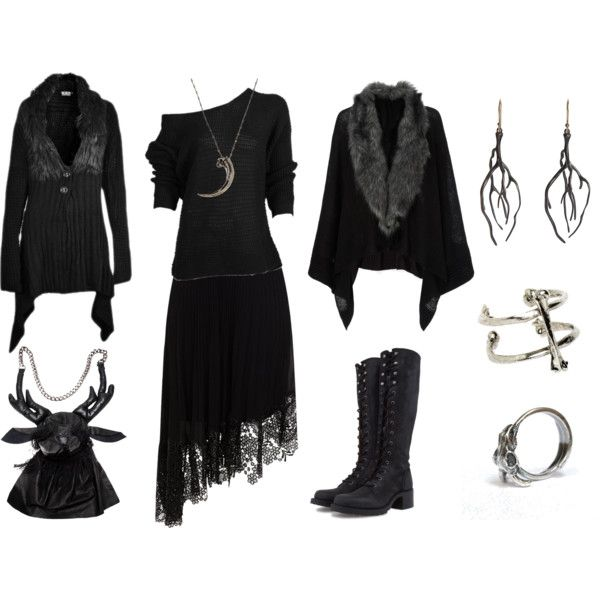 Dark Mori Witch #6 by grimoire-grotto on Polyvore featuring Accessorize, Karen Millen, Frye, Aguri Sagimori, LowLuv, Annette Ferdinandsen, Pamela Love, Poizen Industries, witchy and darkmori