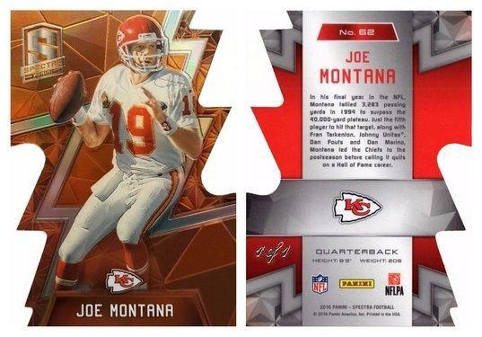 Joe Montana 2016 Panini Spectra 62 KC Chiefs (Neon Orange) (Diecut) (#1/1)
