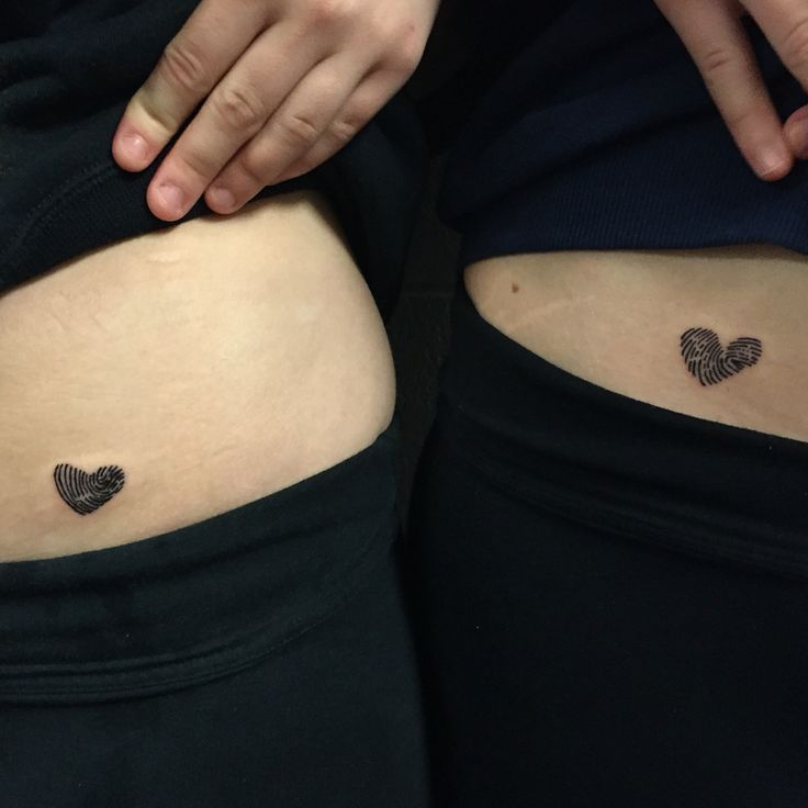 Thumbprint heart tattoos, sister tattoos. Me and my twin sister, so glad we got these!!