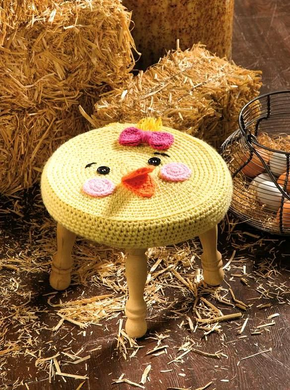 Farm Animals Stool: Chick in Anne Geddes Baby from the October 2014 issue of Crochet World