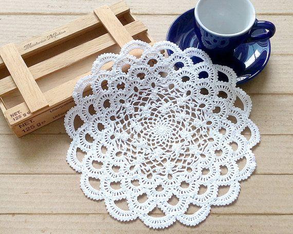 Small White/Cream Cotton Japanese Crochet Lace Doily by krokrolamb