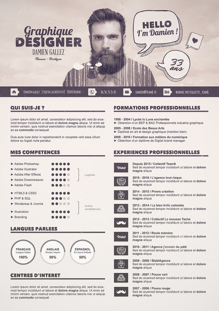 cv design graphique minimaliste