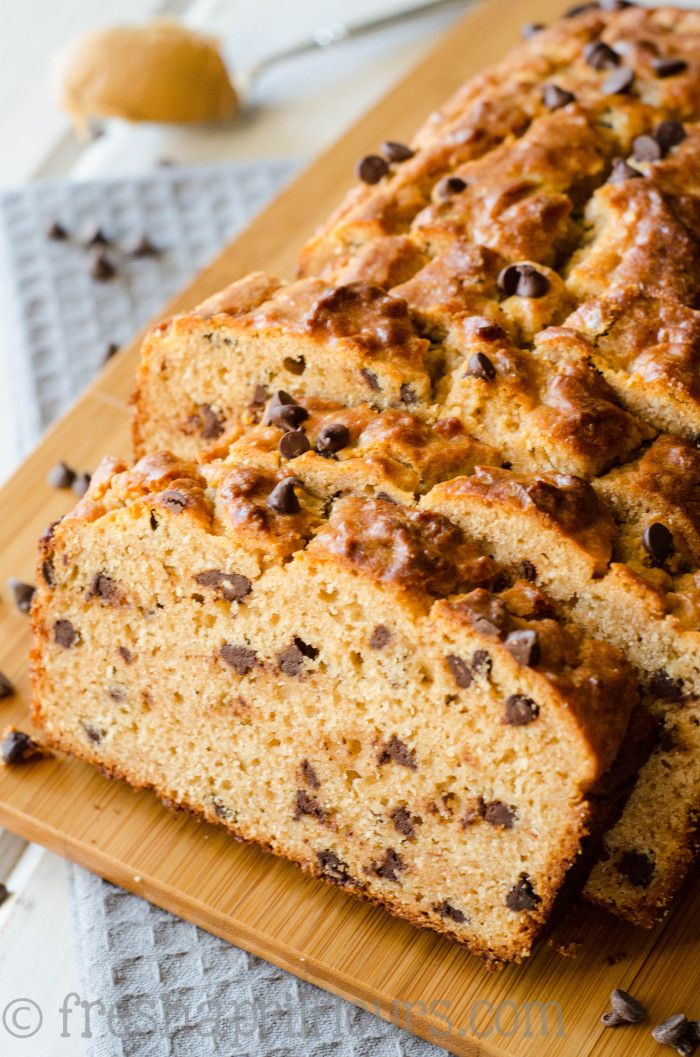 Chocolate Chip Peanut Butter Bread: A crunchy exterior gives way to a moist and flavorful quick bread loaded with peanut butter and dotted with chocolate chips.