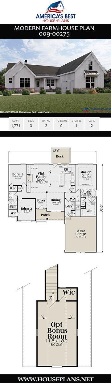 Modern Farmhouse Plan 009-00275