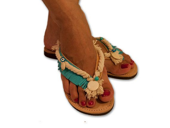 Decorated flip flops, navy flip flops, leather sandals, fringe sandals, turquoise flip flop, boho sandals, Greek sandals