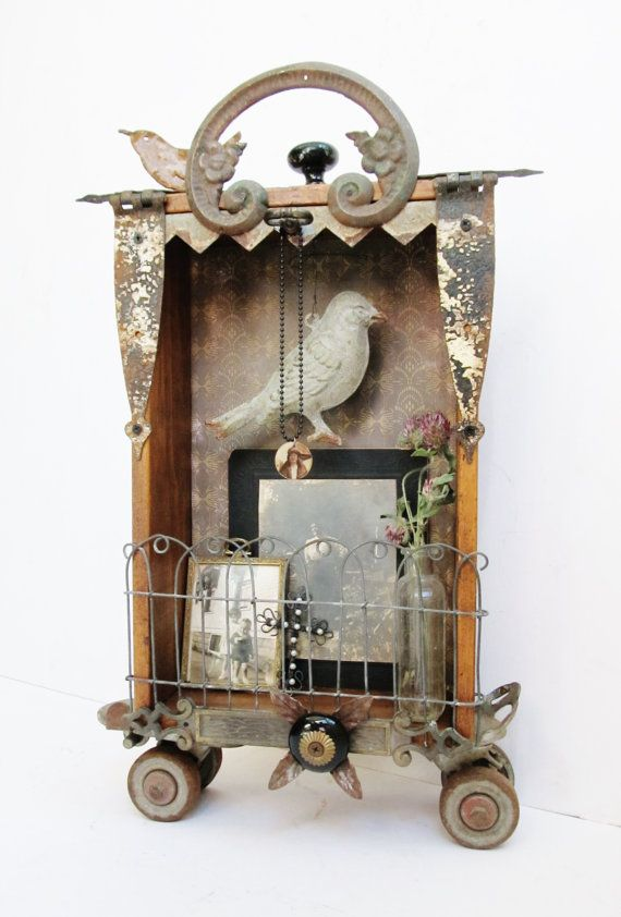 Art Assemblage Shadowbox with Vintage by SassytrashAntiques