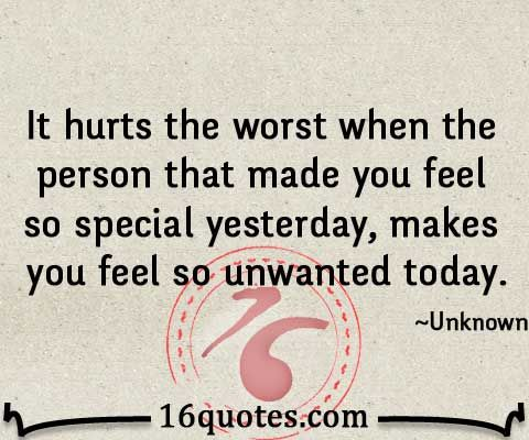 When someone makes you feel so unwanted – Disappointment Quote