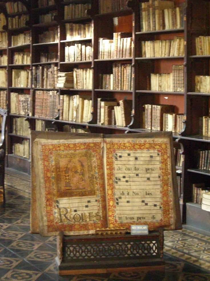 """""""Library in the monastery of the San Francisco Church [Lima, Peru]""""    Dating from the early 17th century - one of the oldest still preserved libraries in the Americas. (Photo Jason Pearce)"""