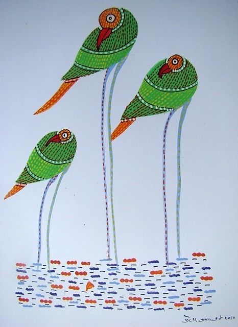 Tree Birds  by Suresh Dhrube, Gond artist of India
