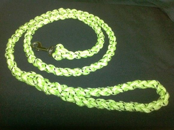 Glow in the Dark Dog Leash - Kings County Forge  Round braid from 4 strands of 1/4″ Cordage, end result is 1″ round and averages between 4 and 5 feet in length. Keep you and your pet visible at night with this Glow in the dark leash.