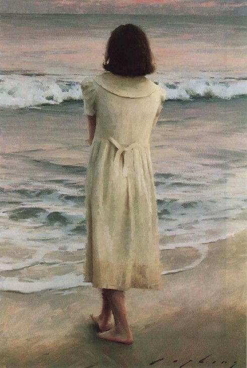 Why do we love the sea? It is because it has some potent power to make us think things we like to think. (Robert Henri)'October Sky' - Jeremy Lipking (b.1975)