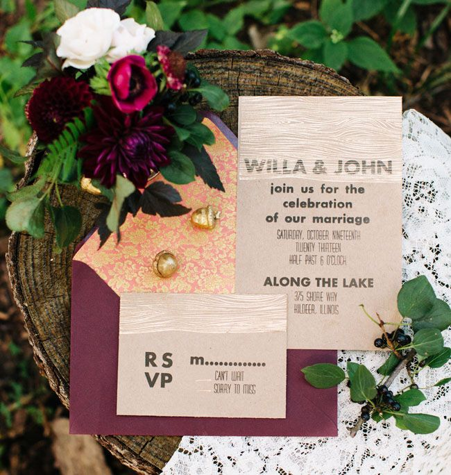 Plum, gold, brown - beautiful mix of colours in this wedding invite!: Autumn Rustic Woodland Wedding Inspiration { Burgundy + Marsala + Plum } : https://www.fabmood.com/autumn-rustic-woodland-wedding-inspiration #autumnwedding #woodlandwedding