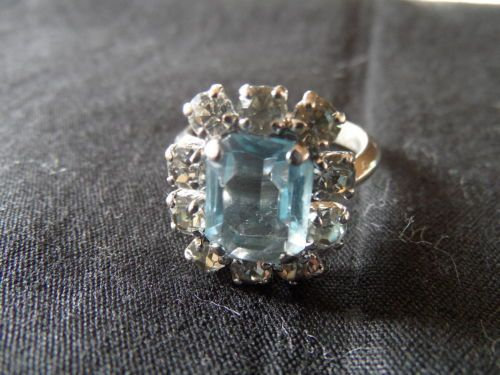BAGUE-CHRISTIAN-DIOR-GERMANY-VINTAGE-STRASS-ET-AIGUE-MARINE