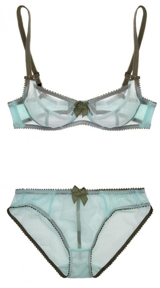 Claudette - Dessous Mesh Bra & Mesh Bikini in Seafoam