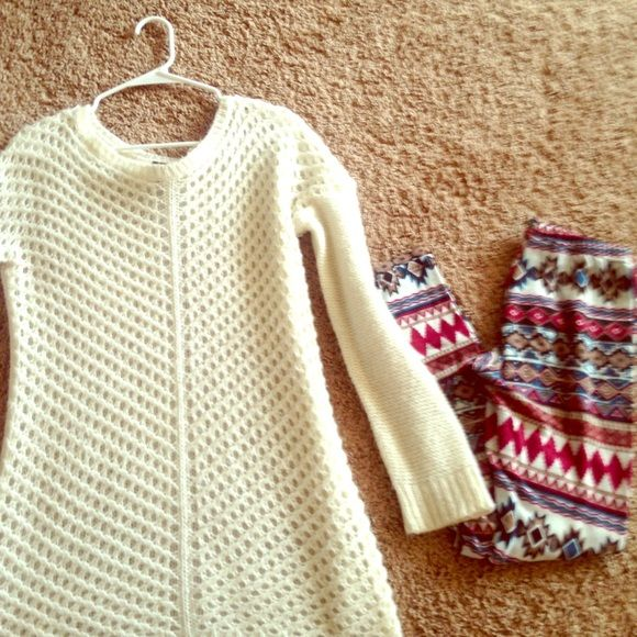 Rue 21 outfit Knitted sweater with leggings I will sell both separately. It's a cute outfit has been worn a couple of times but I take care of my clothes no wear and tears or stains. It's a beautiful outfit for autumn or spring. Rue 21 Tops
