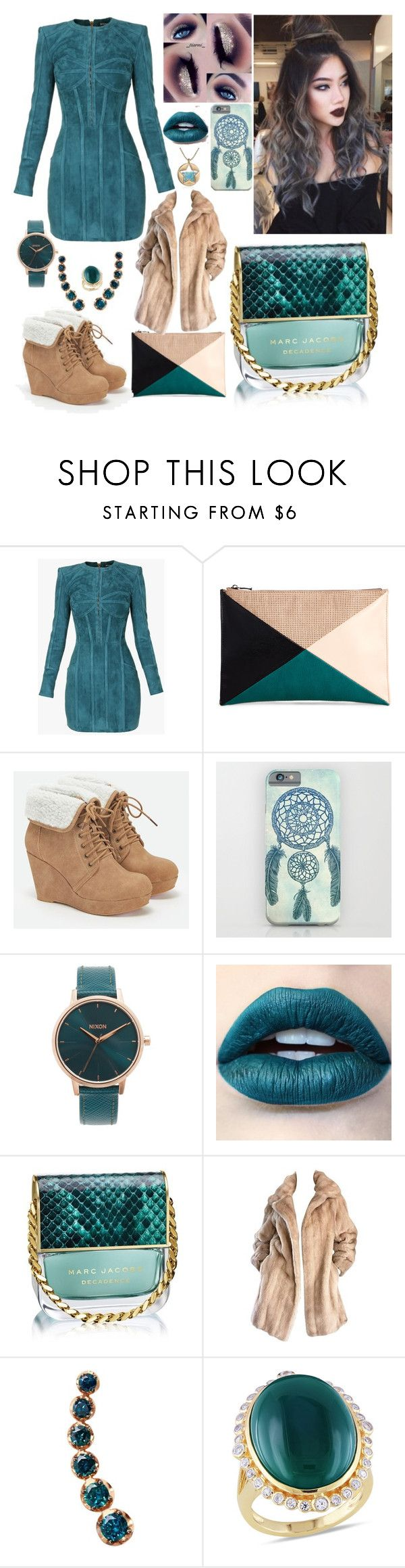 """""""My Christmas outfit"""" by ejollia on Polyvore featuring Balmain, Sole Society, JustFab, Nixon, Marc Jacobs, Lilli Ann, Annoushka, Ice and Betsey Johnson"""