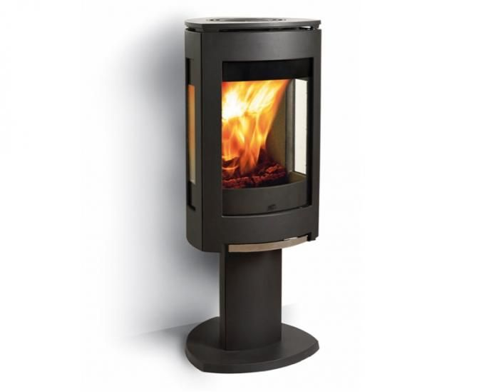 A slim pedestal option is the Norwegian designed Jotul F-370 Modern Wood Burning Stove with cast-iron construction, and three panel glass design; $3,800. Contact Jotul to locate retailers.