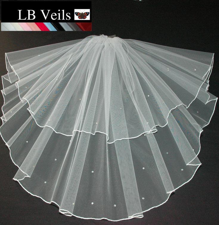Ivory Wedding Veil Swarovski Crystal Diamante Edge Any Length Or Colour From 24 Weddingveils