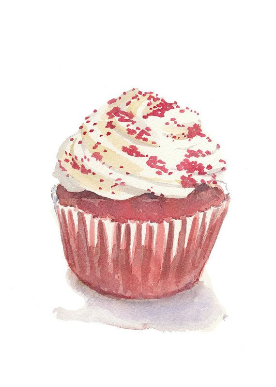 Cupcake Watercolor - Food Art, Original Painting, Red Velvet Cupcake, 5x7    TITLE: Red Velvet Cupcake    PAPER: 140lb (300grm) ARCHES cold