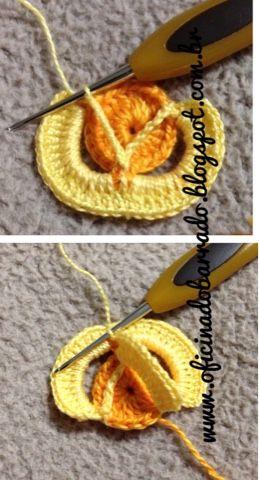 """OFICINA DO BARRADO: Croche - um outro BARRADO com minha FLORZINHA """"3D""""..."""