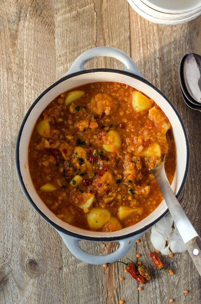 Dieses Curry mit Linsen, Kartoffeln und Blumenkohl ist ganz mild und sehr einfac… – Rezepte