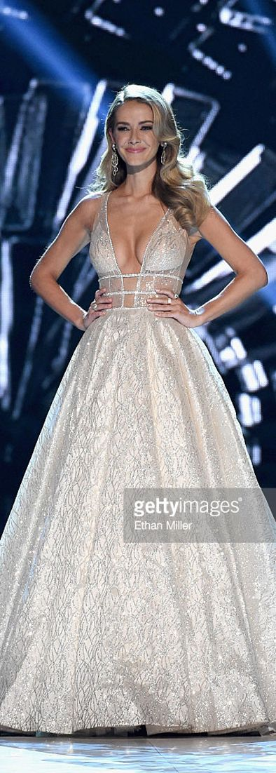 Miss USA 2015 and Miss Universe runner up Olivia Jordan rocked two BERTA dresses on her final appearance as Miss USA on June 5th 2016 in Las Vegas, at the Miss USA 2016 pageant where she crowned the new Miss USA. Olivia had a black embellished dress for the red carpet and a full skirt embellished dress for her final walk on stage. Both were designed for her by BERTA. Images by Ethan Miller for Getty Images.