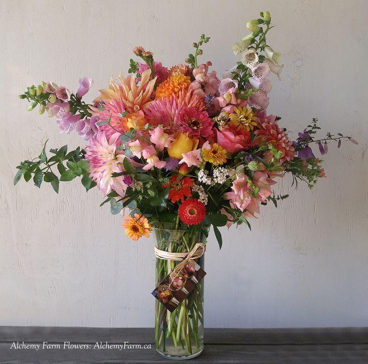Specialty flowers grown at Alchemy Farm on Salt Spring Island and custom designed as a floral gift. #flowerfarmer #flowerfarmerdesigner #localflowers #birthdayflowers