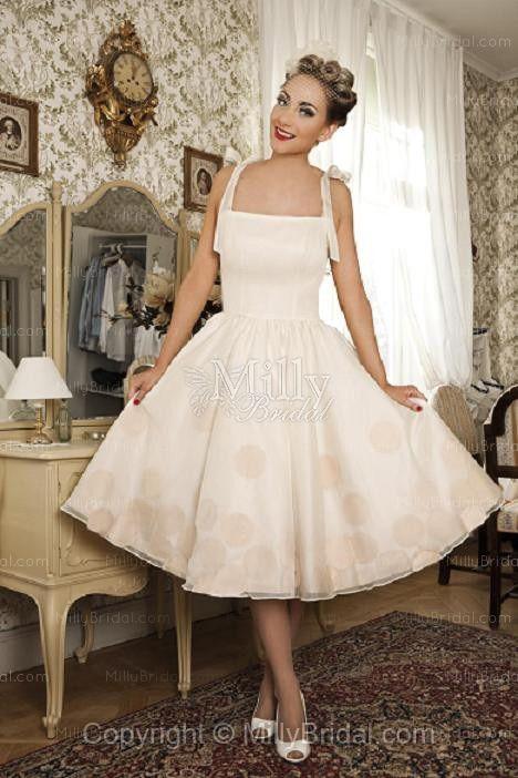 BallGown Square Chiffon Polka Dot White Tea-length Wedding Dress at Millybridal.com