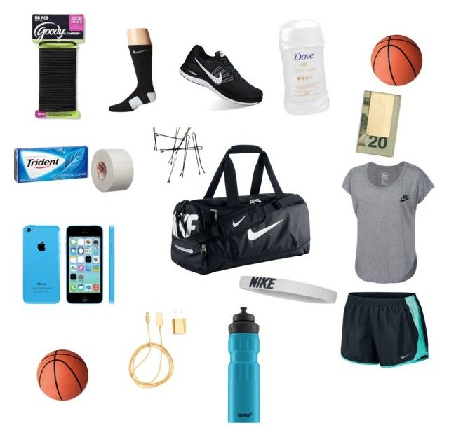 """Whats in my basketball bag"" by citlaly-felix on Polyvore featuring NIKE, Goody, PhunkeeTree, In God We Trust and SIGG"