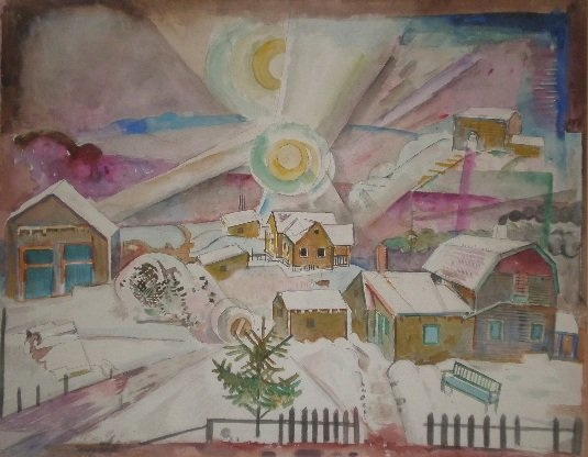 William Sommer, Winter Sun, watercolor on illustration board, 1935