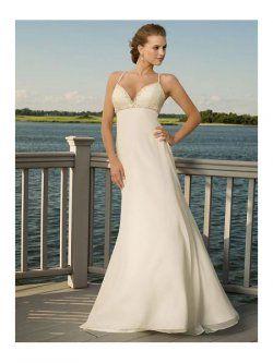 une ligne-sangle avec perles robes de mariage de train de balayage de plage