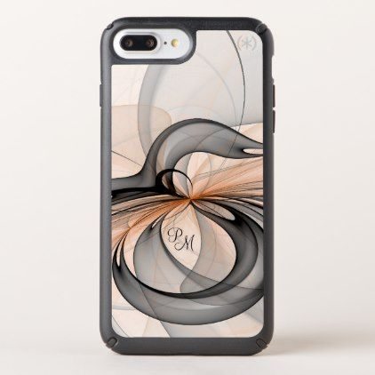 #Abstract Anthracite Gray Sienna Fractal Monogram Speck iPhone Case - cyo customize design idea do it yourself diy