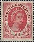 Rhodesia and Nyasaland, 1.7.1954, Queen Elizabeth II. No.5 3P red. Stamped 2,70 USD, Mint Condition 2,70 USD.