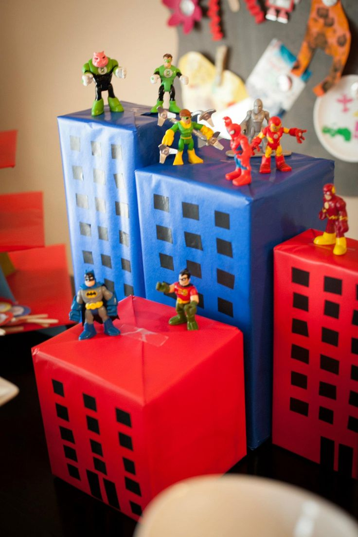Superhero Party...you could make a bigger city scene with boxes for a photo booth