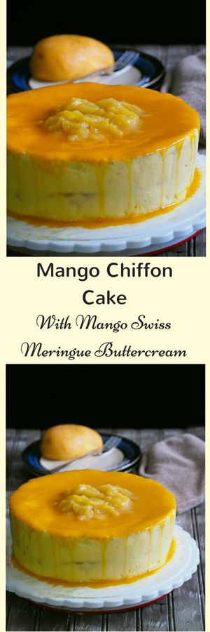 A mango chiffon cake that is filled with sweet mango slices and frosted with creamy mango swiss meringue buttercream.