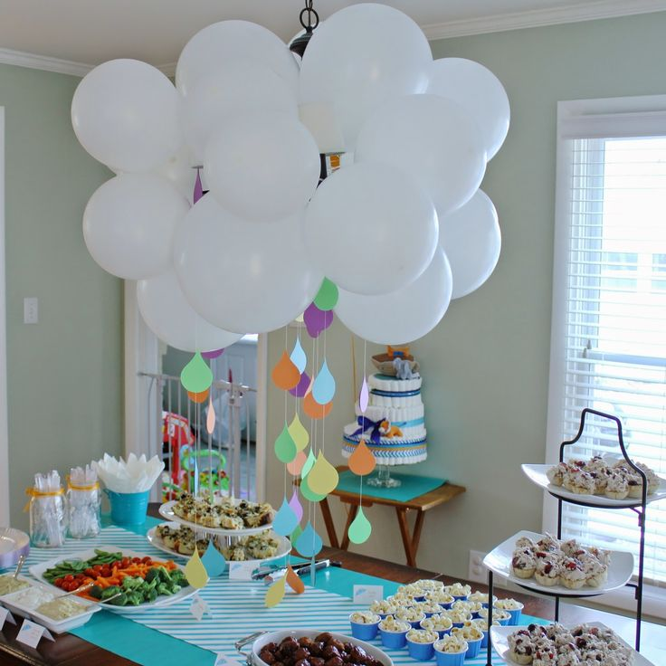 Best 20 raindrop baby shower ideas on pinterest cloud for Balloon cloud decoration