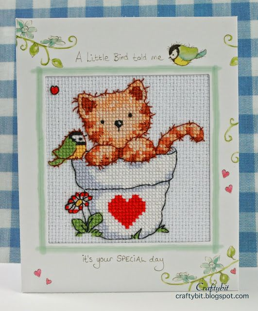 Blogger Mika made this adorable kitty card using our free stitch kit with issue 214 of The World of Cross Stitching mag. Great job Mika!