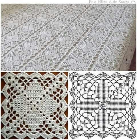 Colcha a crochet con gráfico