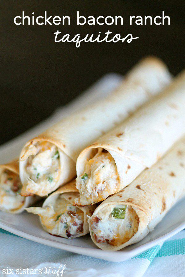 Baked Chicken Bacon Ranch Taquitos  1 (8 ounce) pkg. cream cheese 12 slices of bacon, cooked and crumbled 4 cups cooked, shredded chicken 1 (1 ounce) pkt. dry Ranch Dressing mix 2 cups shredded Monterrey Jack cheese 3-4 Tablespoons green onion, chopped 20 (6-inch) flour tortillas Salt, to taste Nonstick cooking spray