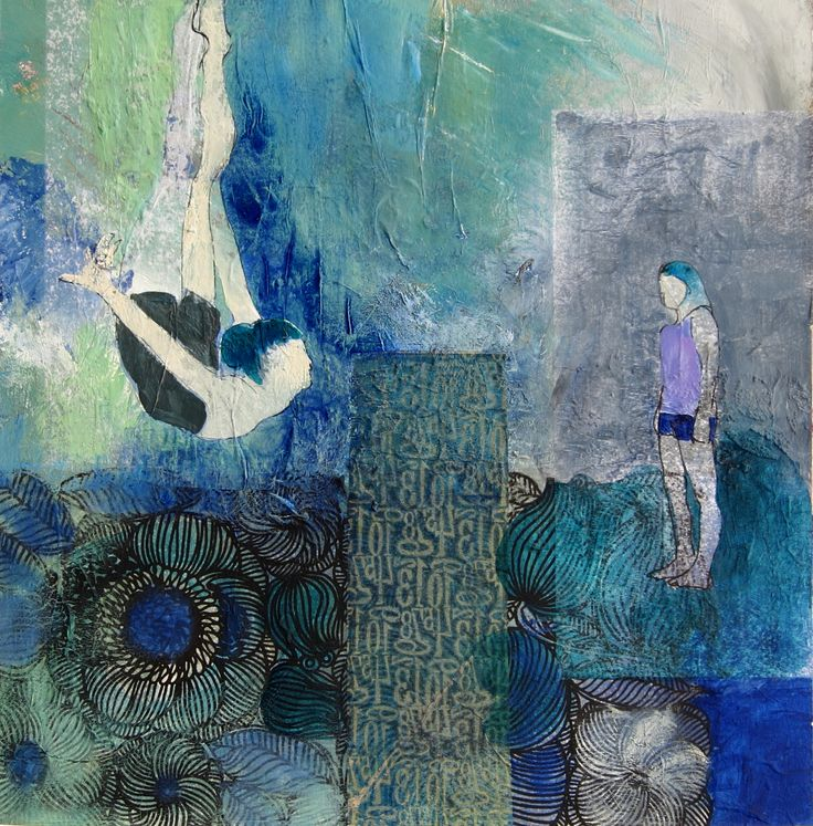 Water Games....judy thorley..acrylic/collage