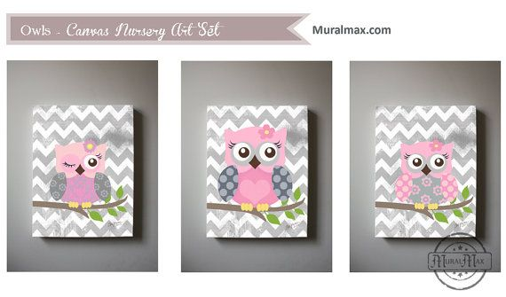 Art for children Owls Nursery Art  Set of 3  Nursery by MuralMAX, $155.00