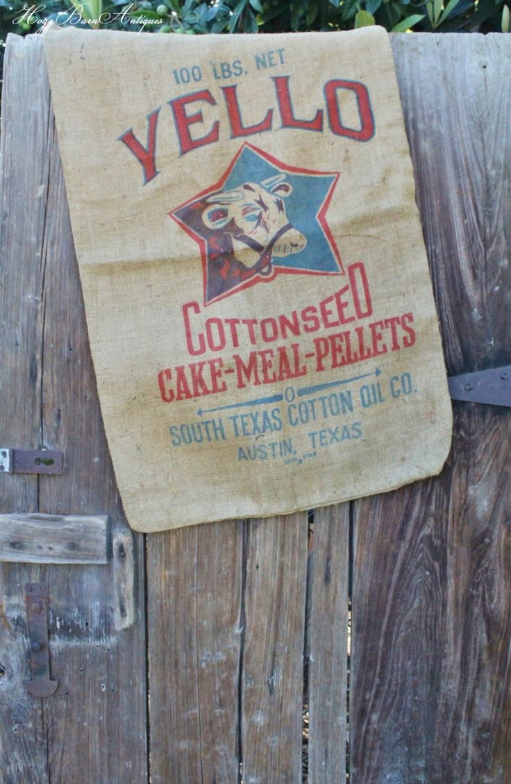 Vintage YELLO Cottonseed Cake Meal Pellets Feed Sack Cow Cattle Burlap TEXAS Farmhouse Country Chic Grainsack Feed by HoggBarnAntiques on Etsy