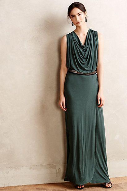Draped emerald maxi dress anthropologie my style for Anthropologie mural maxi dress