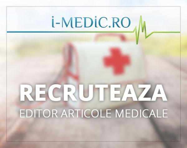 Aveti aptitudini de exprimare in scris? Va place sa studiati, sa va informati cu privire la diferite subiecte medicale si sa realizati apoi o sinteza a acestora? Daca da, va asteptam sa deveniti Colaborator i-MEDIC.ro. Dorim sa colaboram cu studenti la medicina si medici rezidenti care sa realizeze articole originale si relevante pentru anumite subiecte.  http://www.i-medic.ro/colaborare